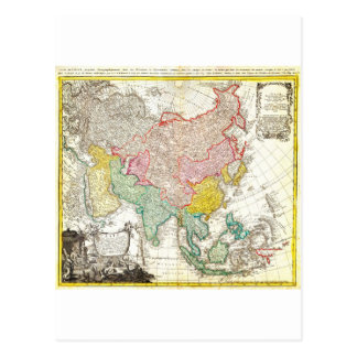 1744 Homann Heirs Map of Asia Geographicus Asi Postcard