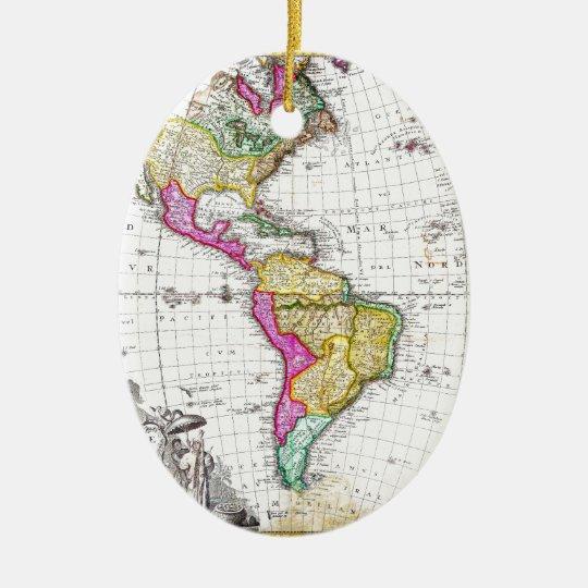 1746 Homann Heirs Map of South North America Ceramic Ornament