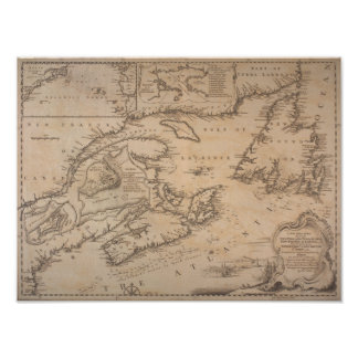 1746 Map Coast off New England and New France Poster