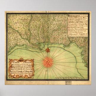 1747 Map of the Louisiana Territory & Gulf Coast Poster
