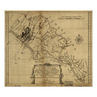 1747 Map of the Northern Neck of Virginia Poster