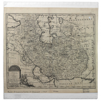 1747 New and Accurate Map of Persia Emanuel Bowen Napkin