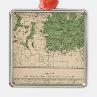 174 manzanas, peras, regiones principales adorno navideño cuadrado de metal