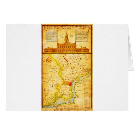 1752 (1850) mapas del montón del Scull de Philadel Tarjeta De Felicitación