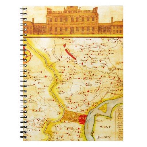 1752 1850 mapas del montón del Scull de Philadelph Cuadernos