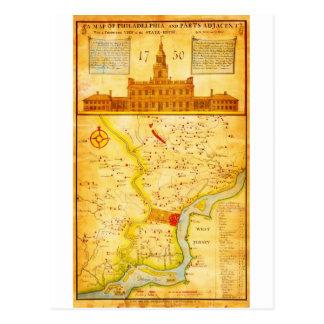1752 1850 mapas del montón del Scull de Philadelph Tarjetas Postales