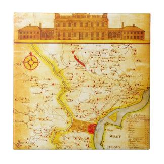 1752 1850 Scull Heap Map of Philadelphia E Ceramic Tile