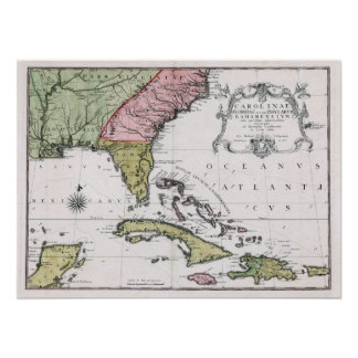 1755 Carolina and Florida and the Bahamian Islands Poster
