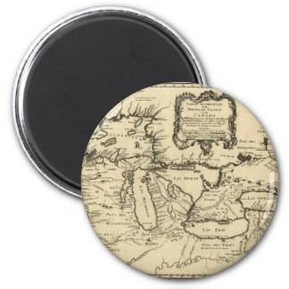 1755 Great Lakes and New France / Canada Map 2 Inch Round Magnet