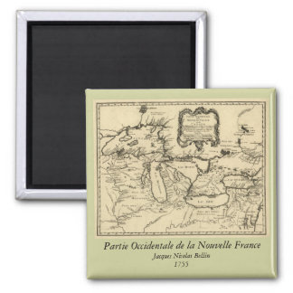 1755 Great Lakes and New France / Canada Map 2 Inch Square Magnet