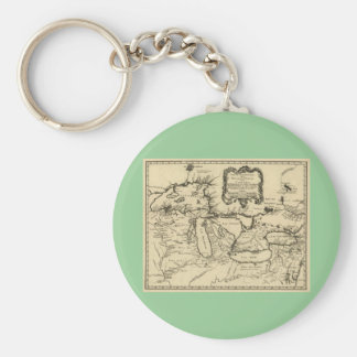 1755 Great Lakes and New France / Canada Map Keychain