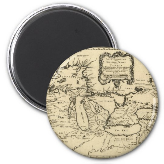 1755 Great Lakes and New France / Canada Map Magnet