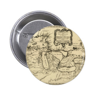 1755 Great Lakes and New France / Canada Map Pinback Button