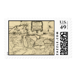 1755 Great Lakes and New France / Canada Map Postage