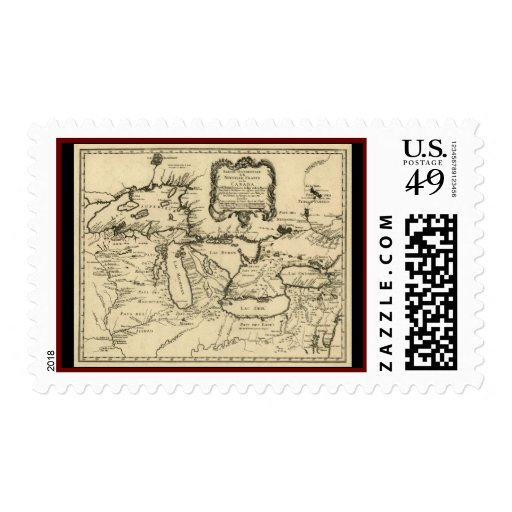1755 Great Lakes and New France / Canada Map Postage Stamp