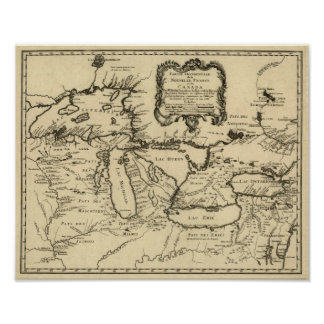 1755 Great Lakes and New France / Canada Map Poster