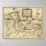 1755 Great Lakes y nuevo mapa de Francia/de Canadá Poster