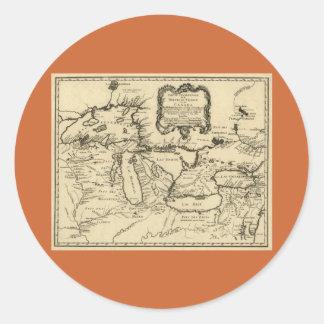 1755 Great Lakes y nuevo mapa de Francia/de Canadá Pegatina Redonda