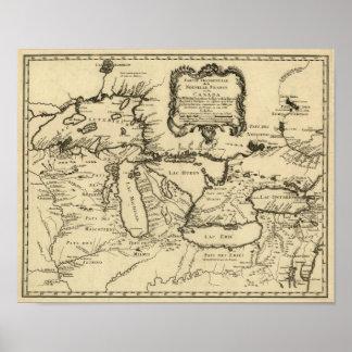 1755 Great Lakes y nuevo mapa de Francia/de Canadá Póster