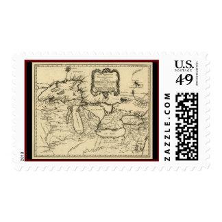 1755 Great Lakes y nuevo mapa de Francia/de Canadá Franqueo