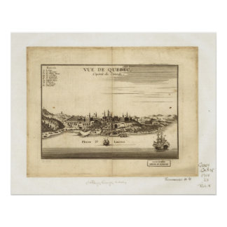 1755 St. Laurent Montreal Quebec Panoramic Map Poster