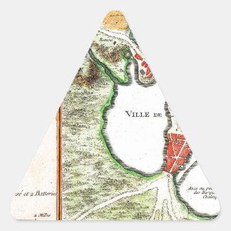 1756 Bellin Map of Boston Massachusetts Geograp Triangle Sticker