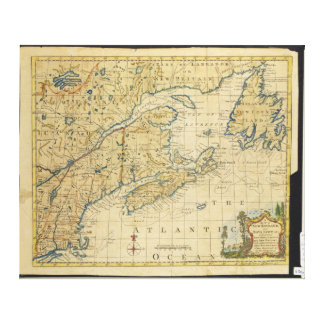 1758 New England & Nova Scotia Map Thomas Kitchin Canvas Print