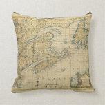 1758 New England & Nova Scotia Map Thomas Kitchin Pillow