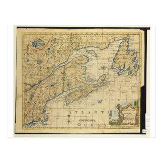 1758 New England & Nova Scotia Map Thomas Kitchin Postcard