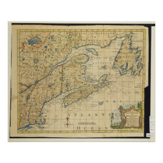 1758 New England & Nova Scotia Map Thomas Kitchin Poster