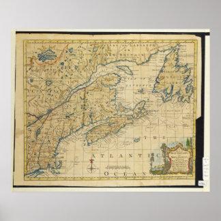 1758 New England & Nova Scotia Map Thomas Kitchin Poster