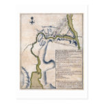1759 Battle of Ticonderoga Military Map Postcard