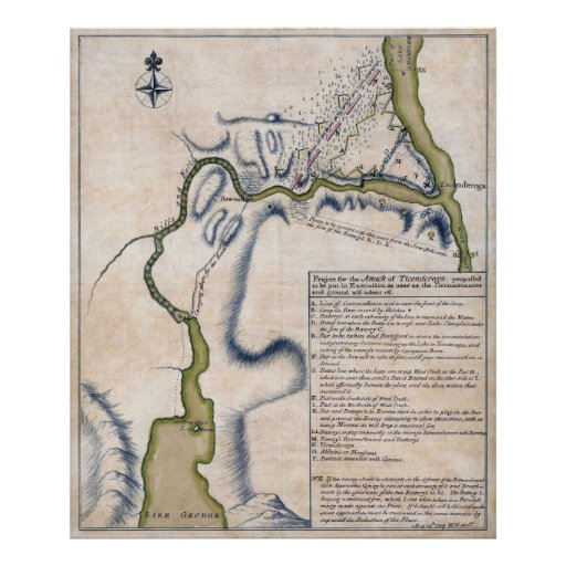 1759 Battle of Ticonderoga Military Map Poster