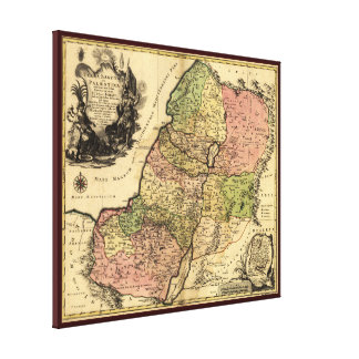1759 Map Of Ancient Israel With The 12 Tribes Canvas Print