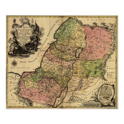 1759 Map Of Ancient Israel With The 12 Tribes Poster