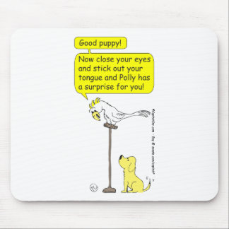 175 Parrot and Puppy Surprise Cartoon Mouse Pad