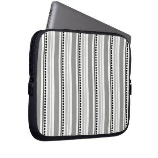 175__stripes-16-overlay GREY GRAY BLACK WHITE STRI Computer Sleeves