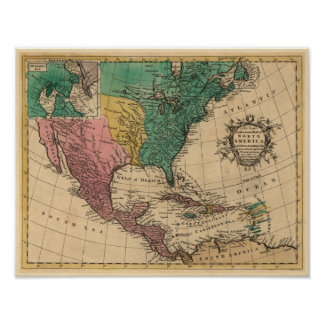 1763 North America Map Poster