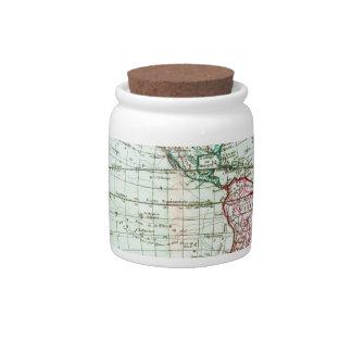 1764 Brion de la Tour Map of the Western Hemispher Candy Dish