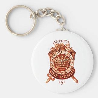 1765 American Tax Stamp Basic Round Button Keychain