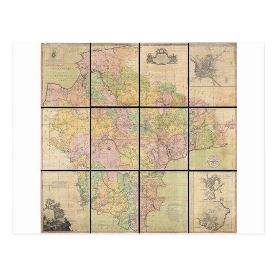 1765 Map of Devonshire by Benjamin Donn Postcard