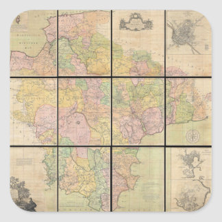 1765 Map of Devonshire by Benjamin Donn Square Sticker