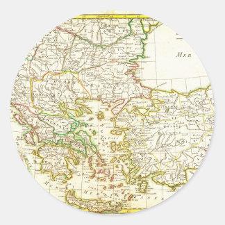 1771 Janvier Map of Greece Turkey Macedonia anda Classic Round Sticker