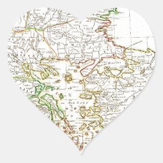 1771 Janvier Map of Greece Turkey Macedonia anda Heart Sticker