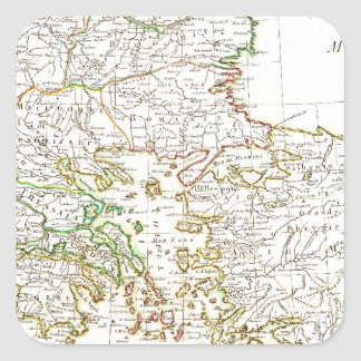 1771 Janvier Map of Greece Turkey Macedonia anda Square Sticker