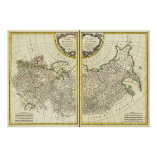 1771 Rigobert Bonne Map of Russia Poster