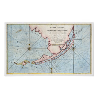 Vintage Map Of Florida Posters Zazzle - Southern florida map