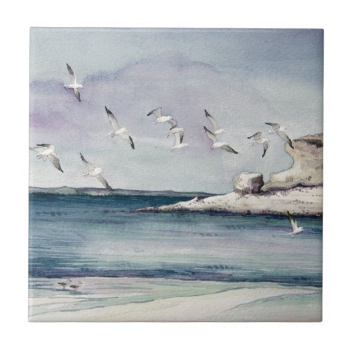 1774 gaviotas en la playa de Sandy Azulejos Ceramicos