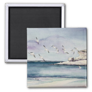 1774 Seagulls at Sandy Beach 2 Inch Square Magnet