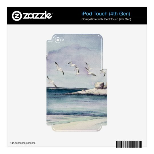 1774 Seagulls at Sandy Beach Decal For iPod Touch 4G